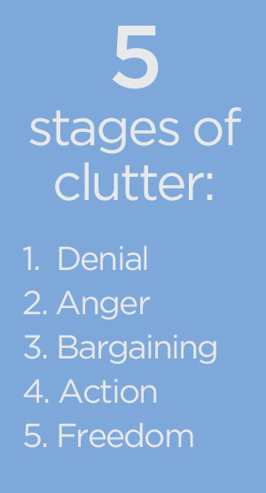 The 5 Stages of Clutter from bemorewithless.com