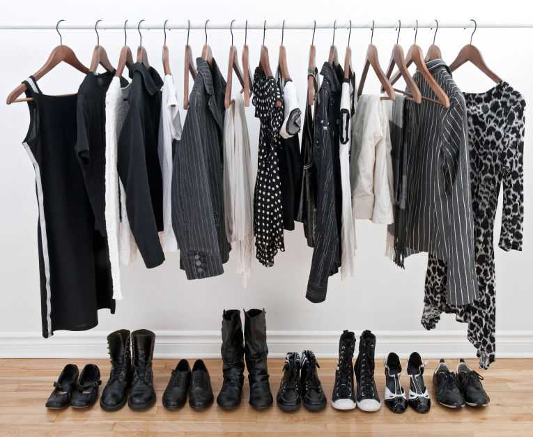 Female black and white clothes and shoes