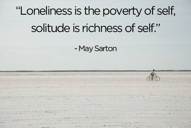 Solitude quote from bemorewithless.com